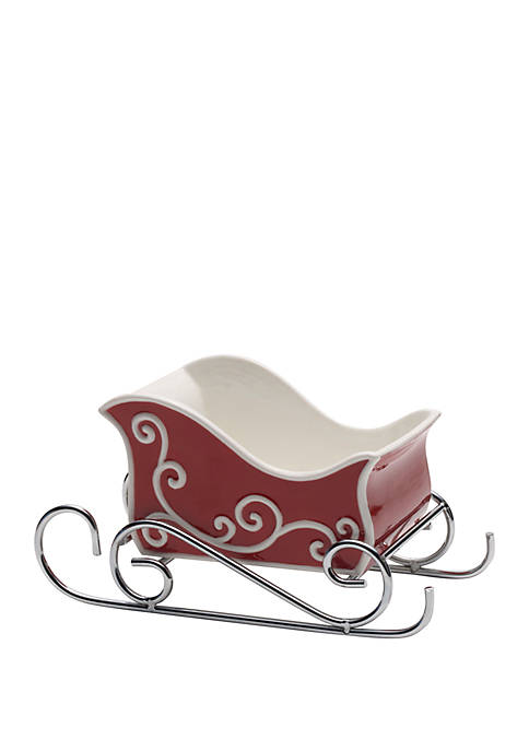 Celebrations by Mikasa Christmas Sleigh Candy Dish