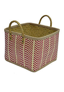 Elements Extra Large Palm Leaf Red Square Woven Basket