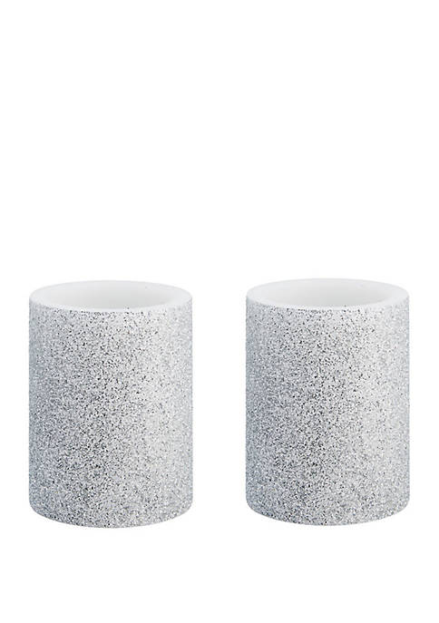 Mikasa Silver Glitter LED Pillar Candles