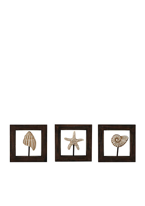Elements White Shell Wood Wall Plaque
