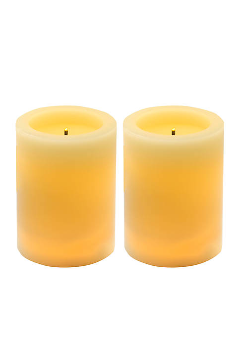 Bombay Lit Wick LED Wax Pillar Candle Two-