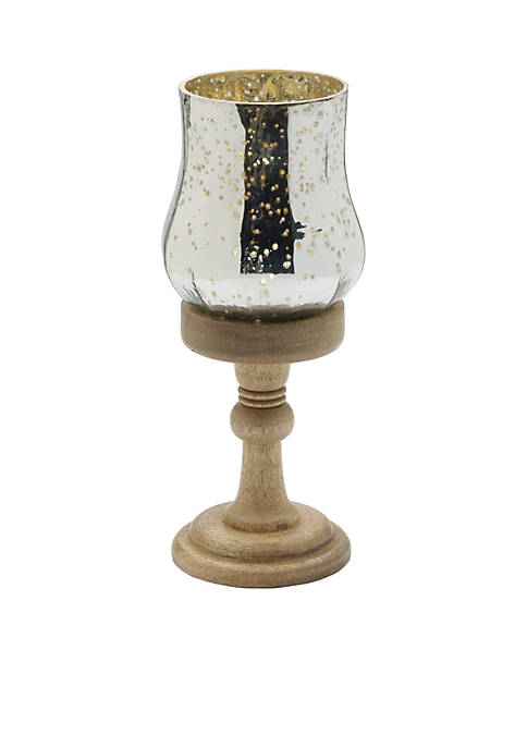 Elements Silver Mercury Glass Candle Holder