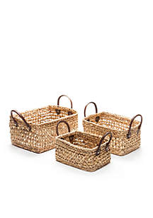 Natural Water Hyacinth Basket- Set of 3