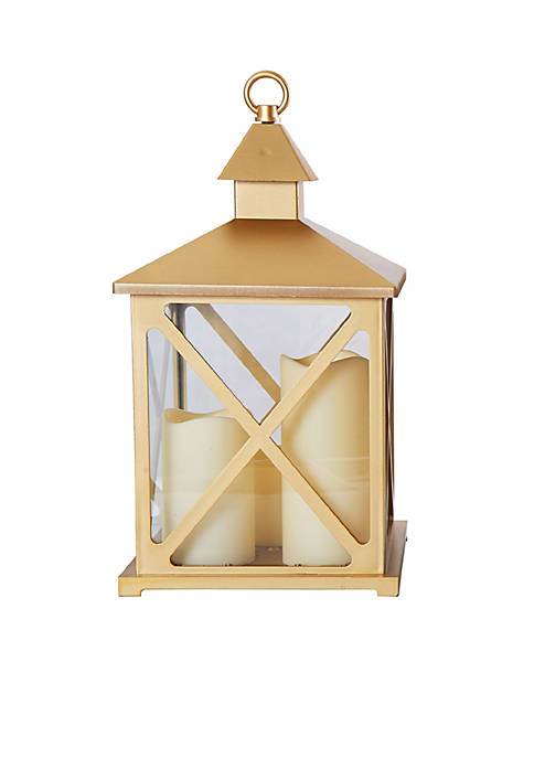 Elements Gold LED Plastic Lantern