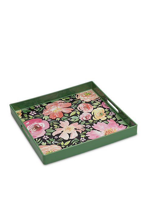 Elements Green Florals Tray