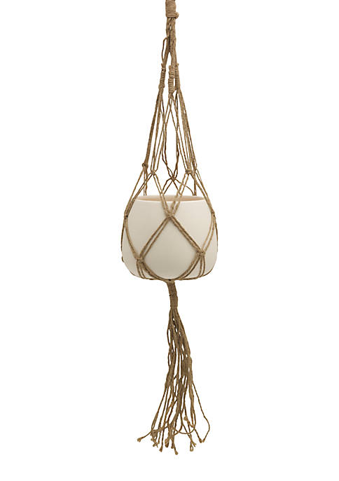 Elements Macrame and Ceramic Pot Holder