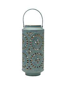 Blue Tan Metal Lantern