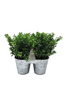 Galvanized Vase With Plastic Greenery