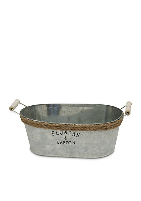 Elements Large Metal Washtub Planter