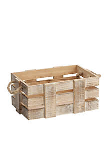 White-Wash Distressed Wood Crate
