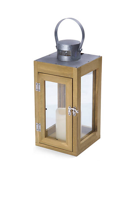 Elements Galvanized Wood LED Lantern