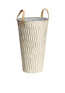 Bronze Handle Embossed Container Vase