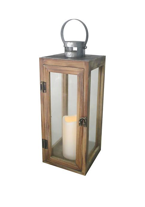 Elements Galvanized LED Wood Lantern