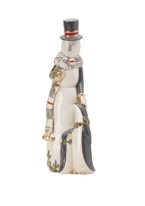 Fitz and Floyd Mistletoe Merriment Snowman Figurine