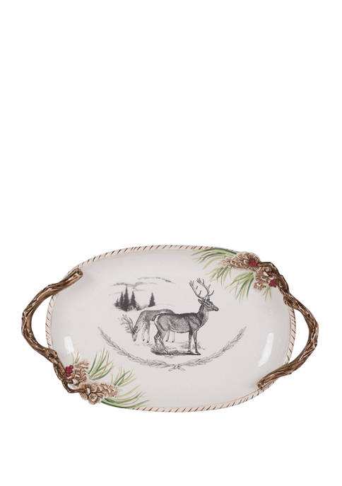 Fitz and Floyd Forest Frost Centerpiece Platter