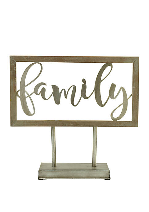 "Elements ""Family"" Table Top Wood Sign"