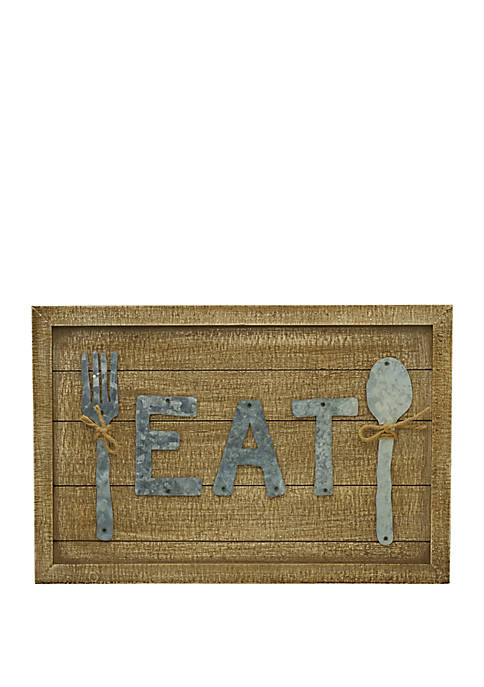 Elements Eat Wood and Metal Plaque