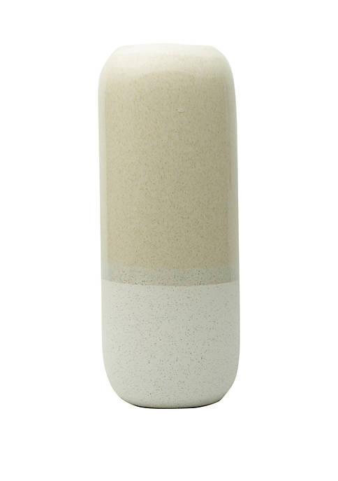 Elements White Stripe Ceramic Oblong Vase