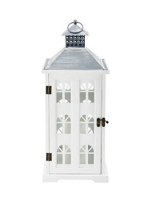 Elements LED Square Wood House Lantern