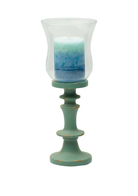 Elements Matte Green Resin Candleholder
