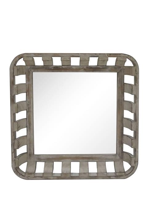 22 Inch Square Wood Decorative Mirror