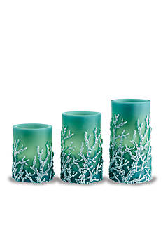 Shoreline 3-Piece Embossed Coral LED Candle Set