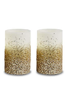 2-Piece LED Flameless Candle with Timer, Glitter and Beads