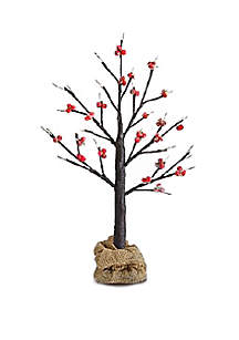 Decorative LED Gold & Red Berry Tree