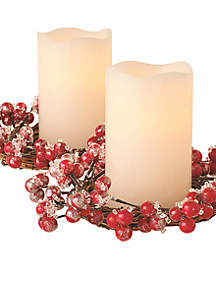 LED Wreath Gold Red Berries Flameless Candles