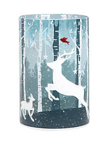 Flameless Candle LED Glass Reindeer Scene