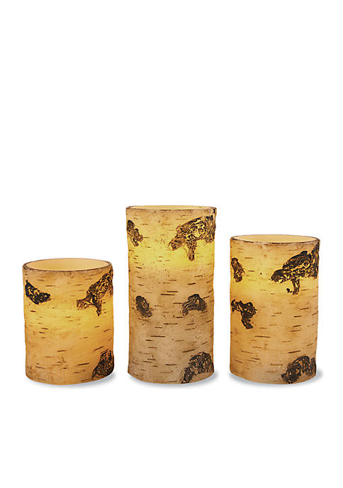Merchsource 3-Piece Flameless LED BIrch Candle Set with
