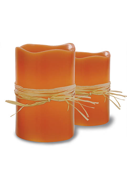 Merchsource 2-Piece Flameless LED Pumpkin Spice Scented Candle