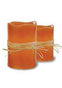 2-Piece Flameless LED Pumpkin Spice Scented Candle Set with Timer