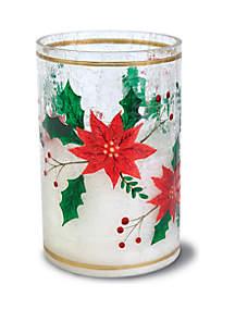 Flameless Candle LED Hurricane Glass Poinsettia