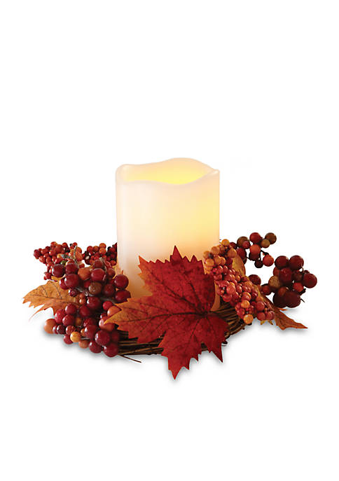 5-in. Flameless LED Candle with Harvest Wreath