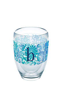 Blooming Initial Stemless Wine Glass - B