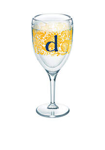 Blooming Initial Wine Glass