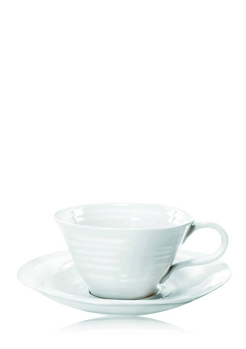 White Teacup and Saucer, Set of 4