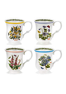 Botanic Garden Terrace Set of 4 Assorted Bell Shape Mugs - Online Only