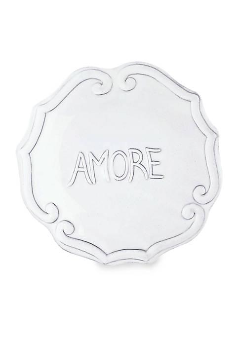 Vietri Incanto White Amore Plate