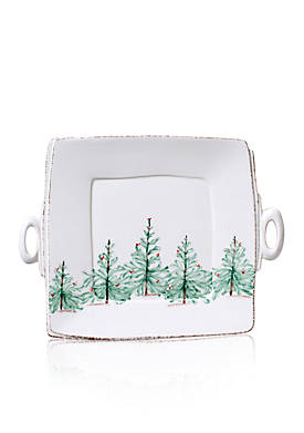 Lastra Holiday Handled Square Platter