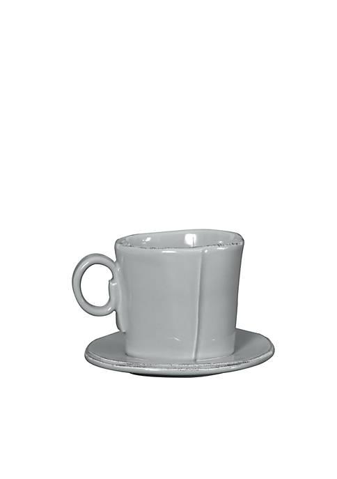 Vietri Lastra Gray Espresso Cup & Saucer