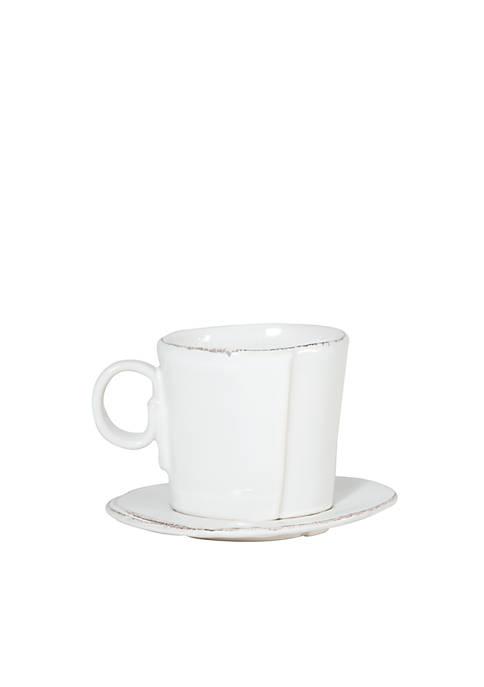 Vietri Lastra White Espresso Cup & Saucer