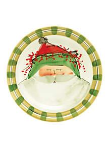 Vietri Old St. Nick Santa Green Hat Dinner Plate 10.75-in.