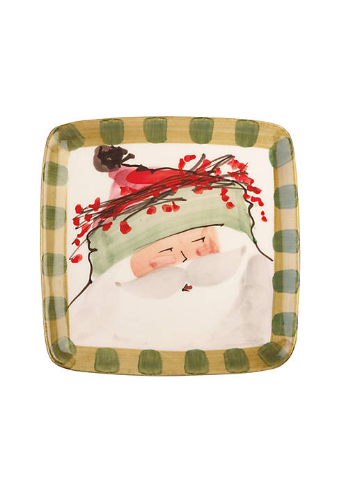 Old St. Nick Green Hat Santa Square Salad Plate 8.25-in.