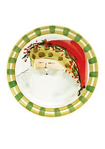 Vietri Old St. Nick Animal Hat Santa Round Salad Plate 8.25-in.