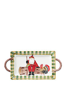 Old St. Nick Handled Rectangular Platter with Turkey