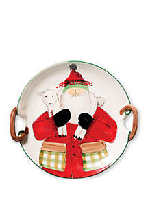 Old St. Nick Handled Round Platter with Lamb