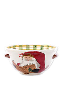 Old St. Nick Handled Medium Bowl with Santa Reading