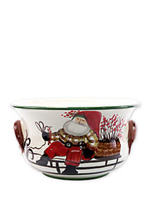 Old St. Nick Footed Round Cachepot with Sleigh